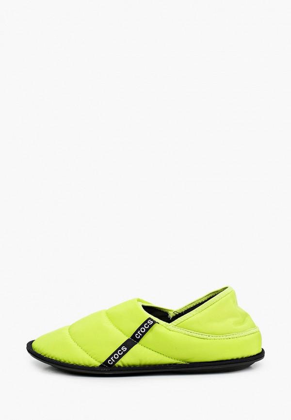 женские тапочки crocs, зеленые