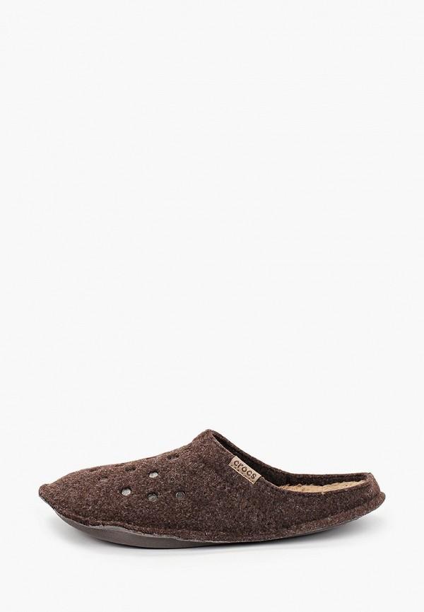 женские тапочки crocs, коричневые