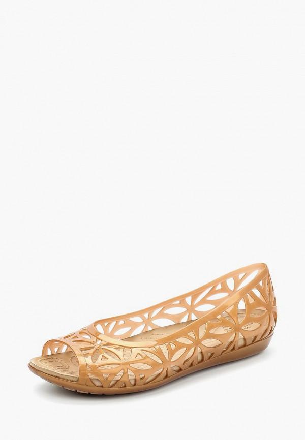 женские балетки crocs, коричневые