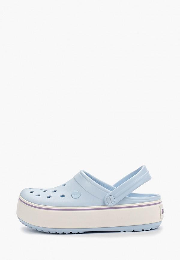женское сабо crocs, голубое