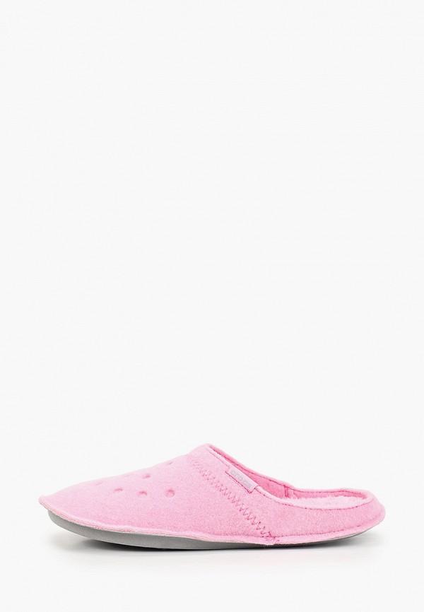женские тапочки crocs, розовые