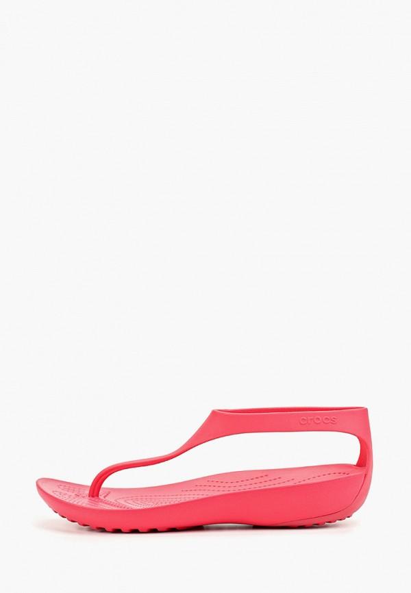 женские сандалии crocs, розовые