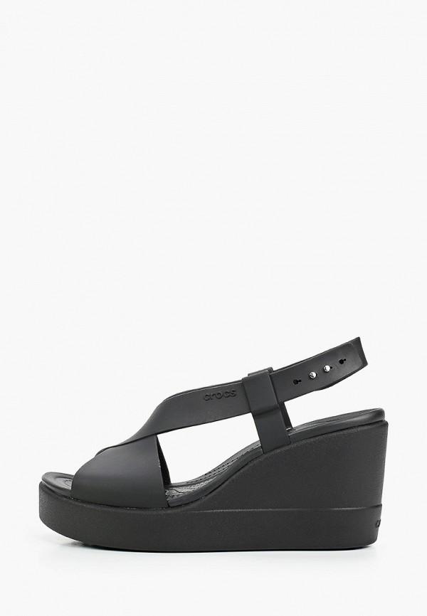 женские босоножки crocs, черные