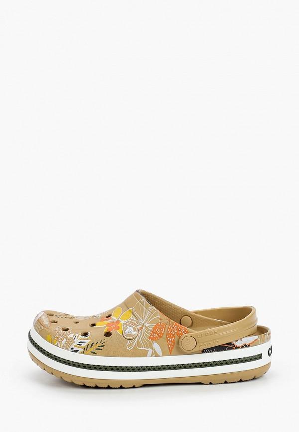 женское сабо crocs, коричневое