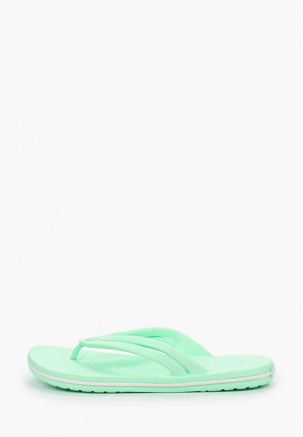 женские сланцы crocs, зеленые