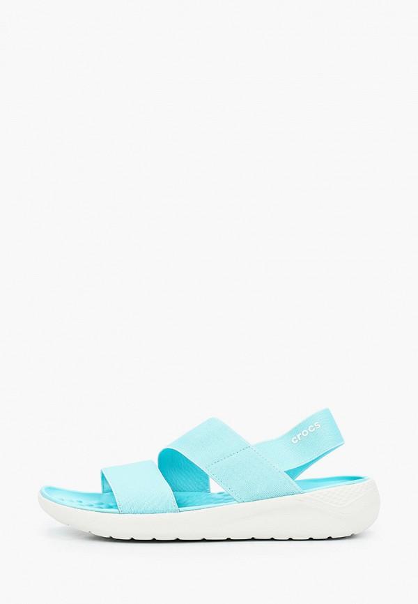 женские сандалии crocs, голубые