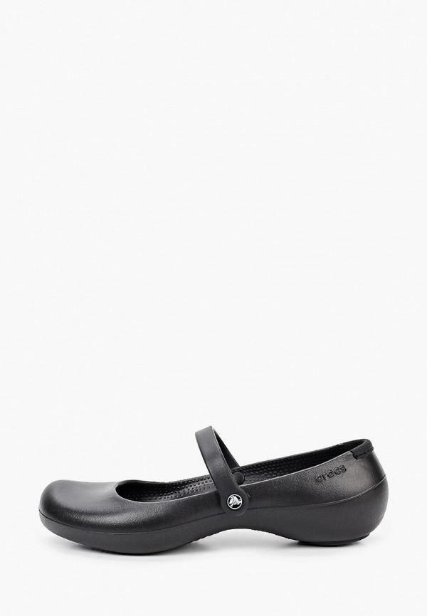 женские балетки crocs, черные