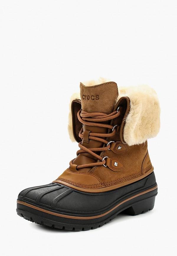 женские ботинки crocs, коричневые