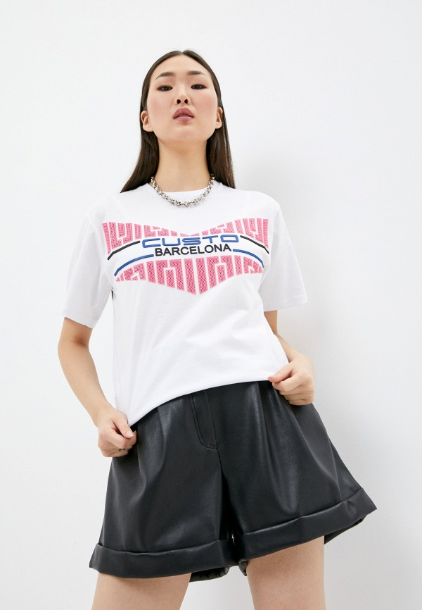 женская футболка custo barcelona, белая