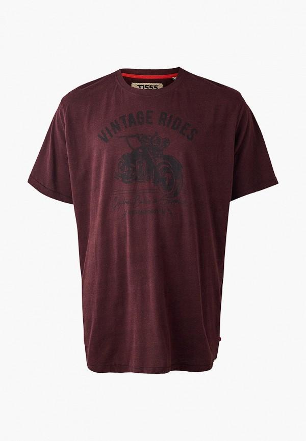 мужская футболка d555, бордовая