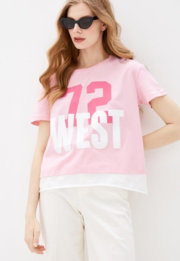 женская спортивные футболка dali, розовая