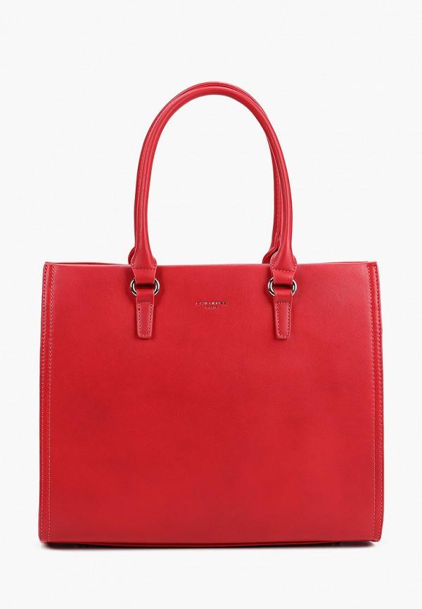 женская сумка с ручками david jones, красная