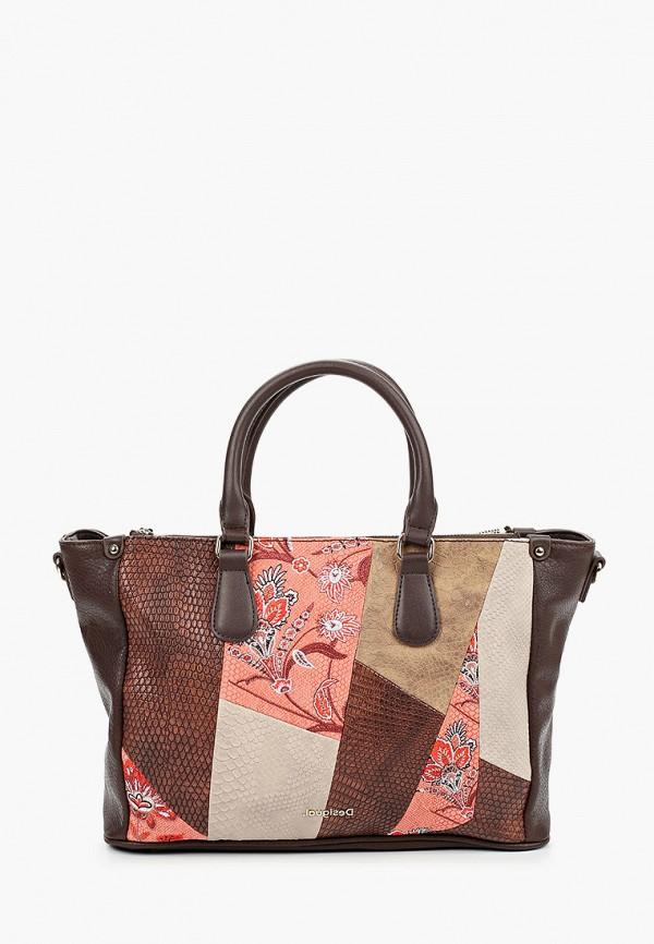 женская сумка с ручками desigual, коричневая