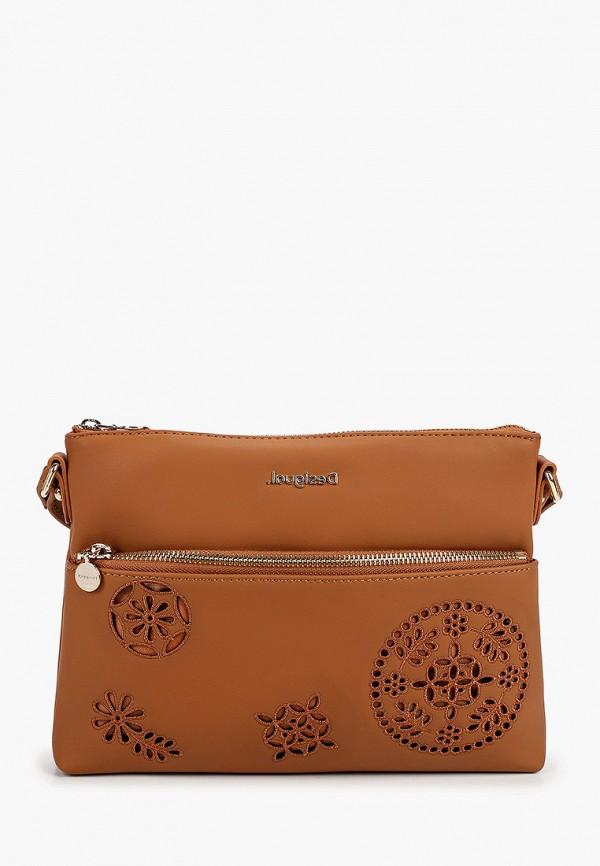 женская сумка через плечо desigual, коричневая