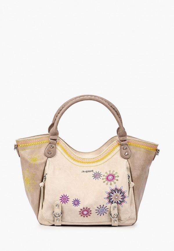 женская сумка с ручками desigual, бежевая