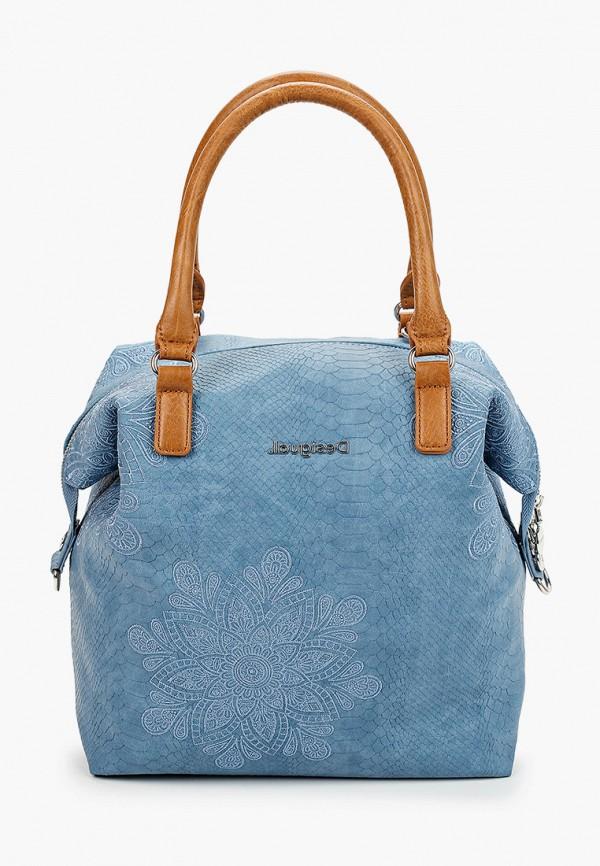 женская сумка с ручками desigual, голубая