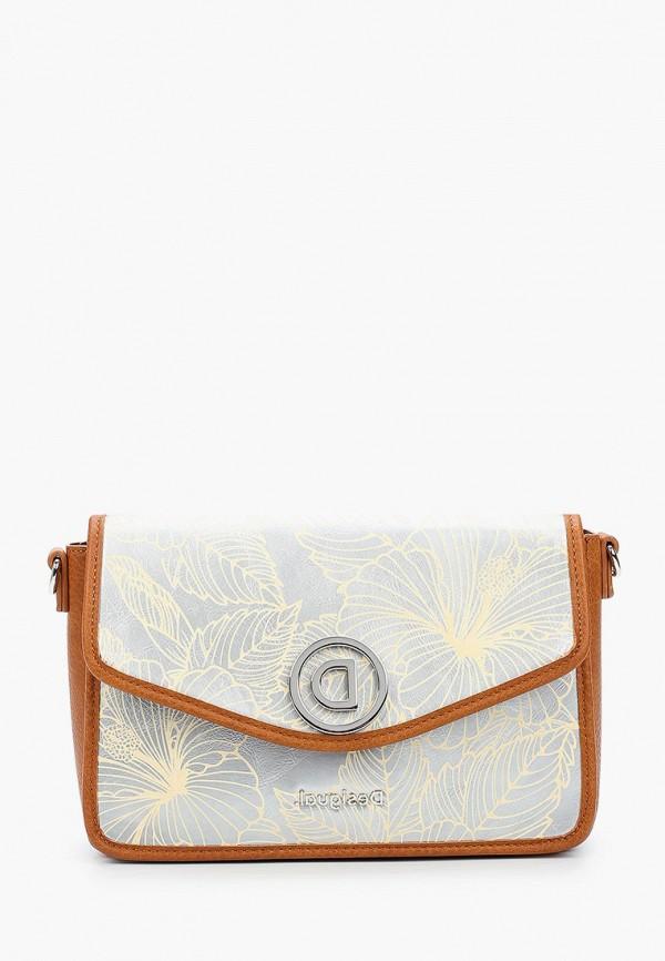 женская сумка через плечо desigual, серая