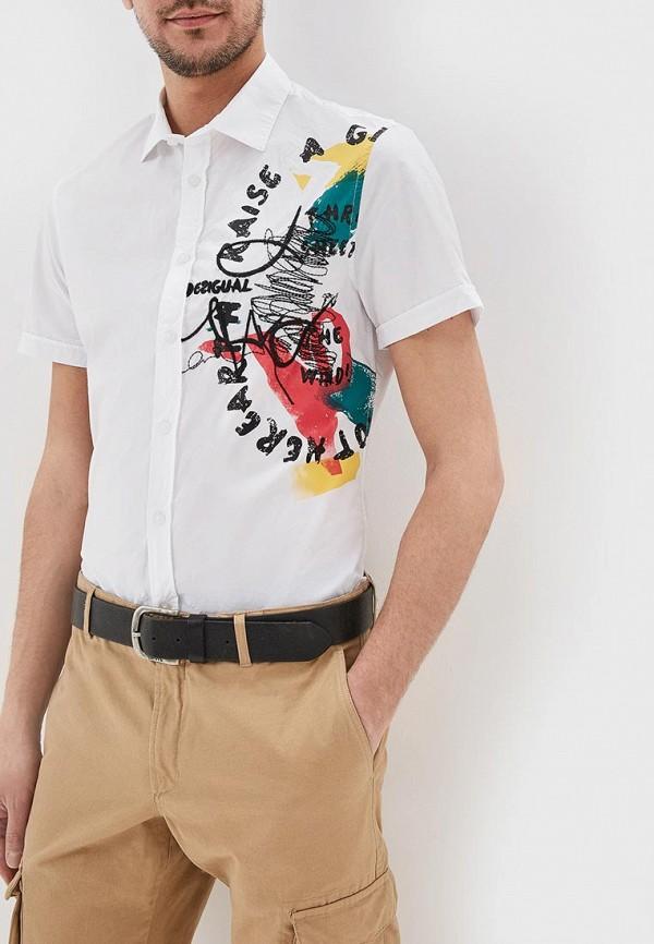 мужская рубашка с коротким рукавом desigual, белая