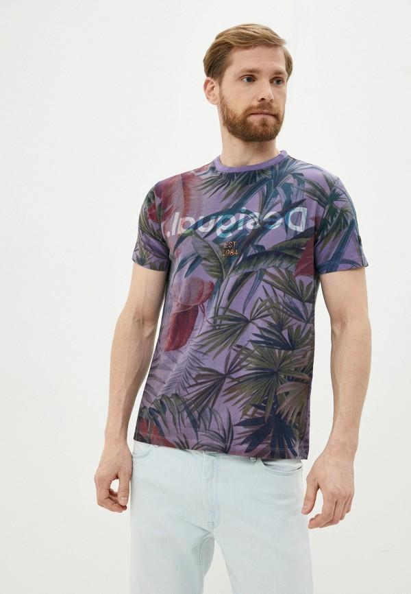 мужская футболка с коротким рукавом desigual, фиолетовая