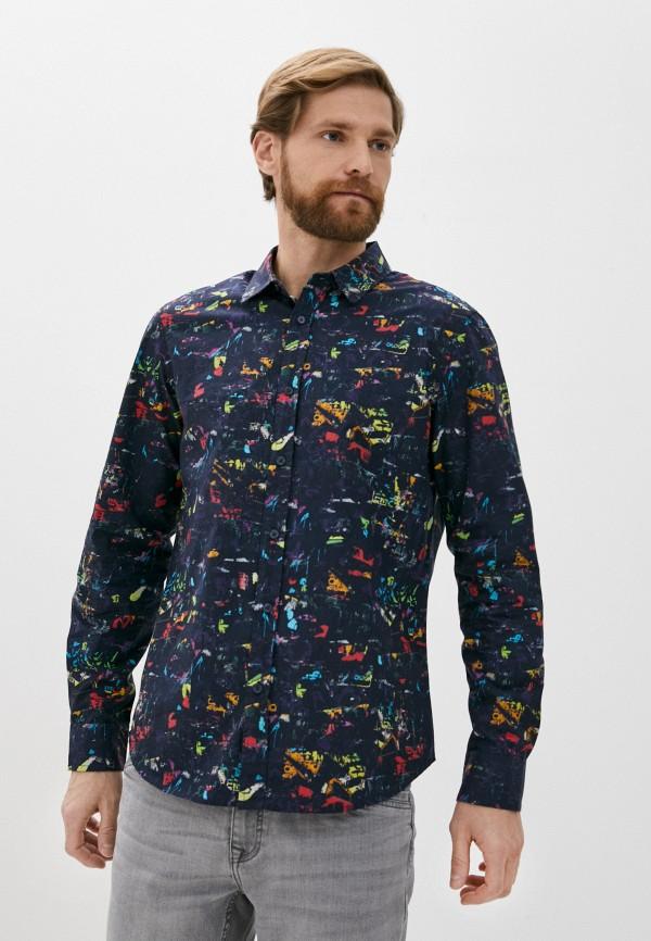 мужская рубашка с длинным рукавом desigual, синяя