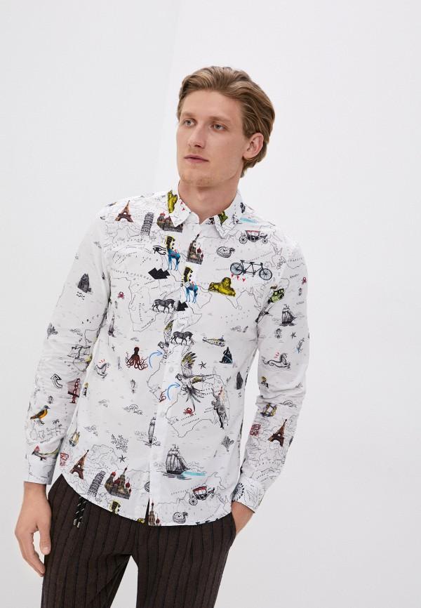 мужская рубашка с длинным рукавом desigual, белая