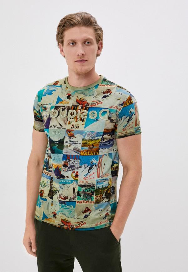 мужская футболка с коротким рукавом desigual, хаки