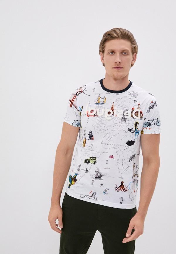 мужская футболка с коротким рукавом desigual, белая