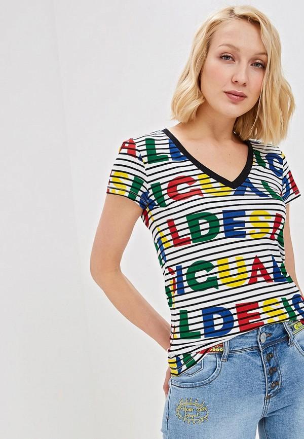 женская футболка desigual, разноцветная