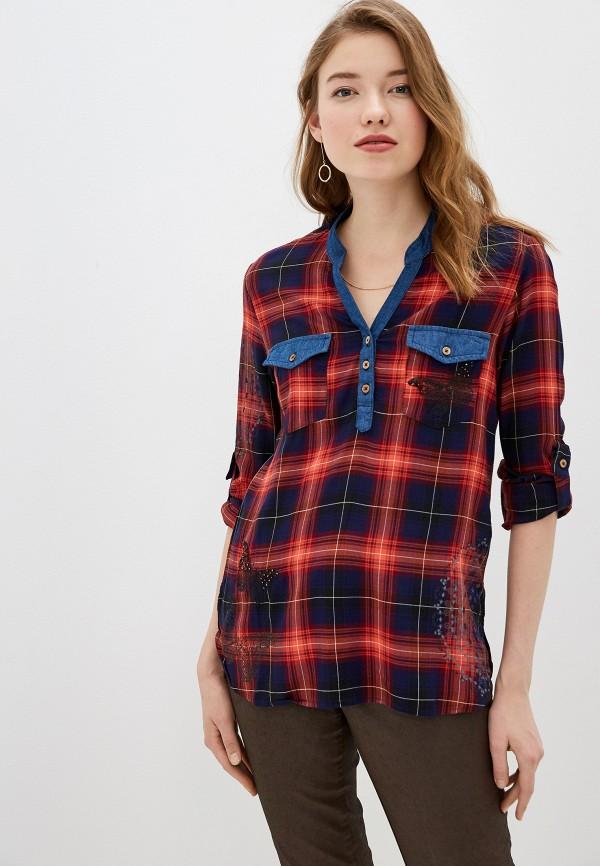 женская блузка desigual, красная