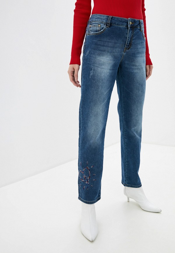 женские прямые джинсы desigual, синие