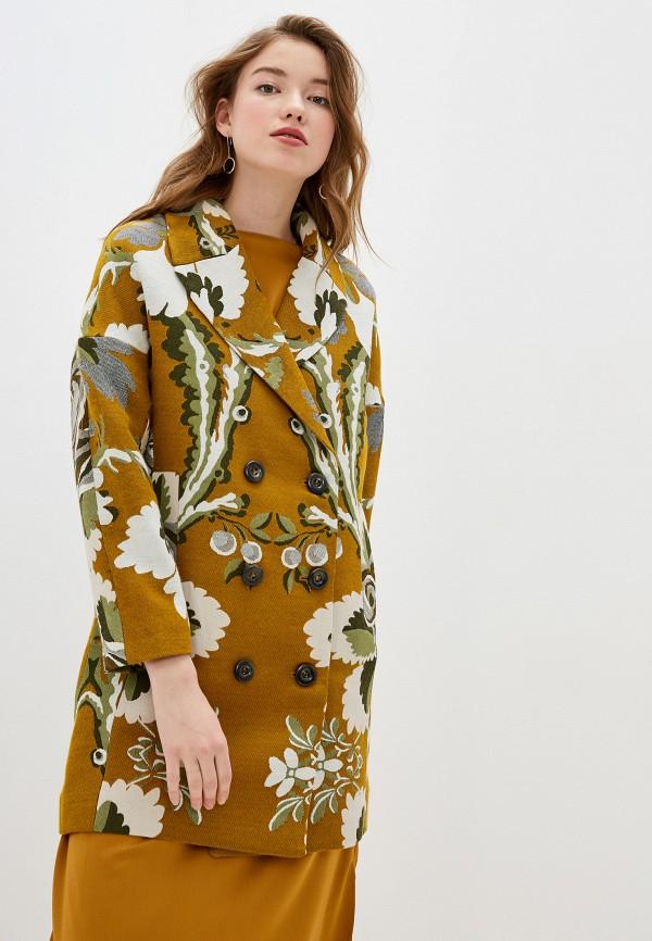 женское пальто desigual, желтое
