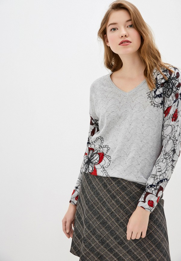 женский пуловер desigual, серый