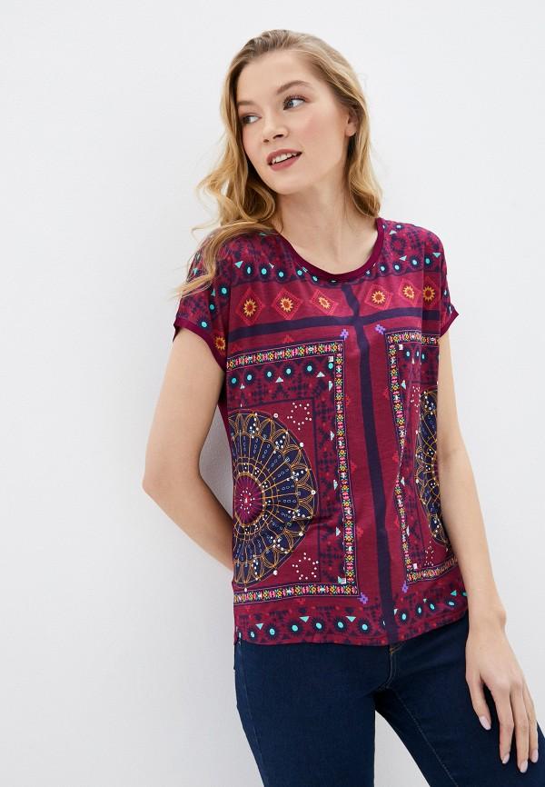женская футболка desigual, бордовая
