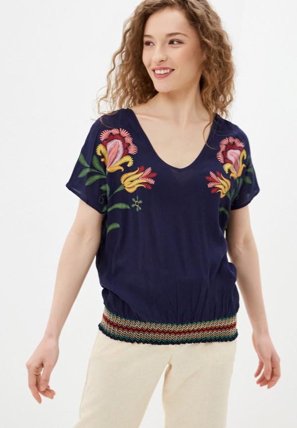 женская блузка с коротким рукавом desigual, синяя