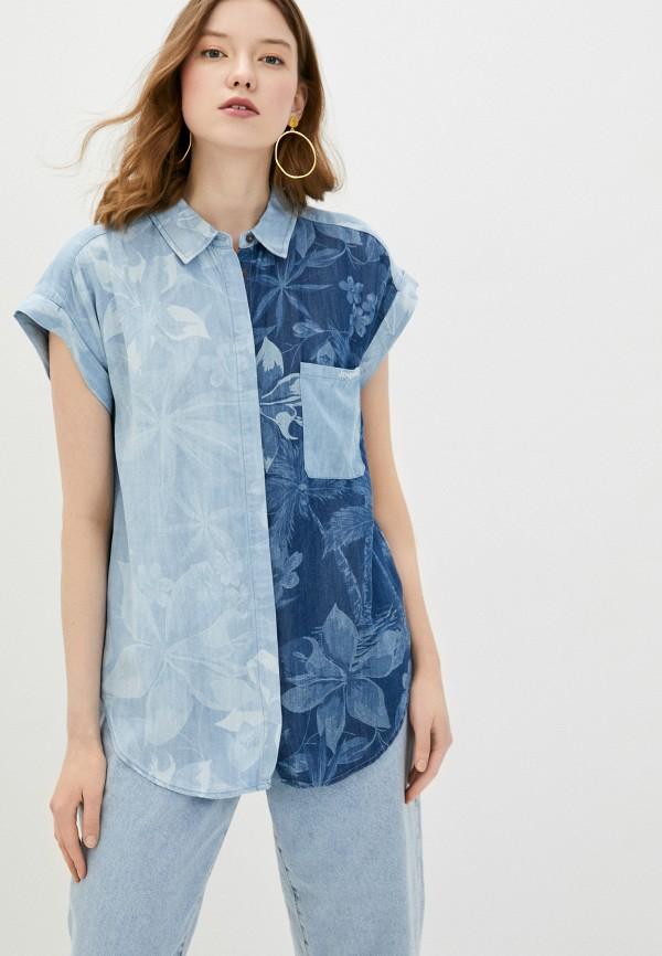 женская блузка desigual, голубая