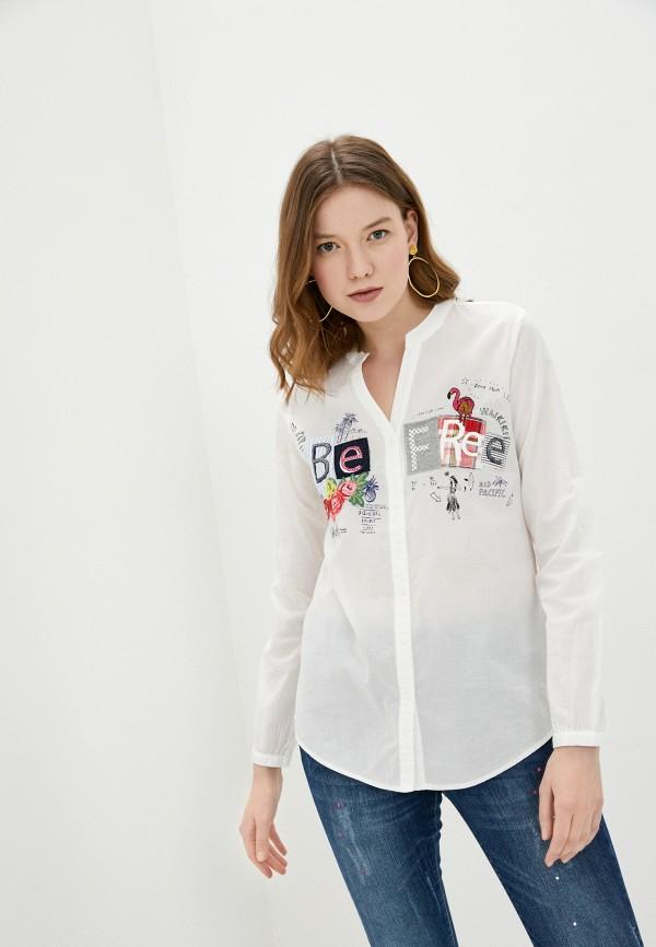 женская рубашка с длинным рукавом desigual, белая