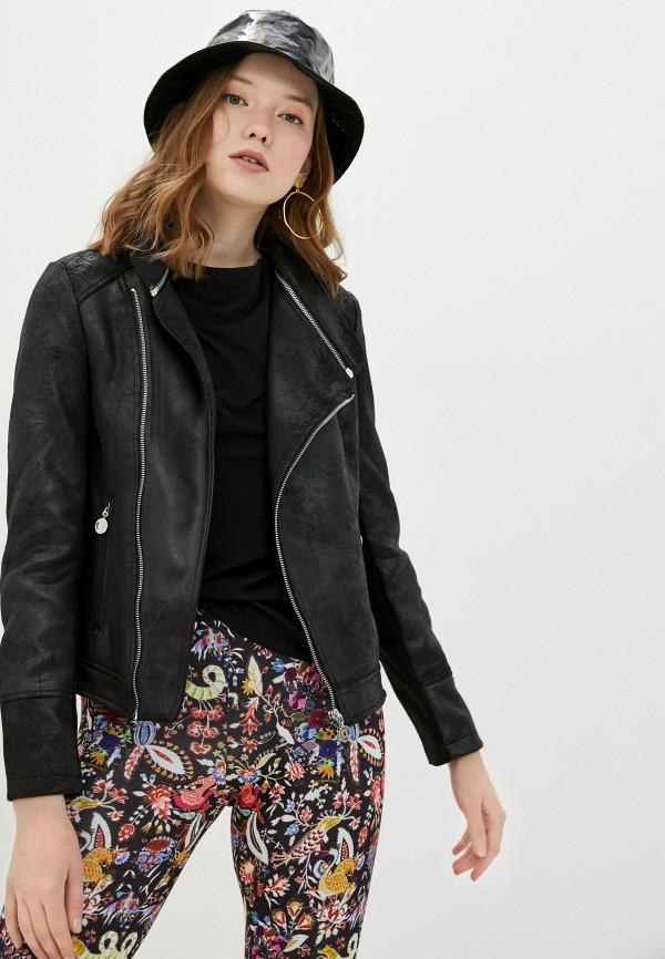женская куртка косухи desigual, черная