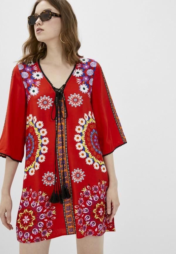 женское повседневные платье desigual, красное