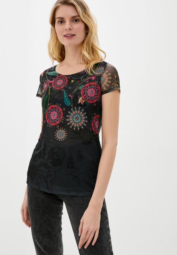 женская футболка desigual, черная