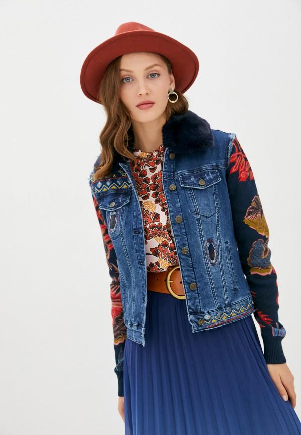 женская джинсовые куртка desigual, синяя