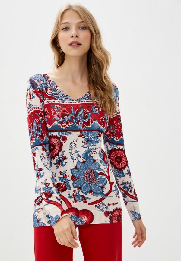 женский пуловер desigual, разноцветный