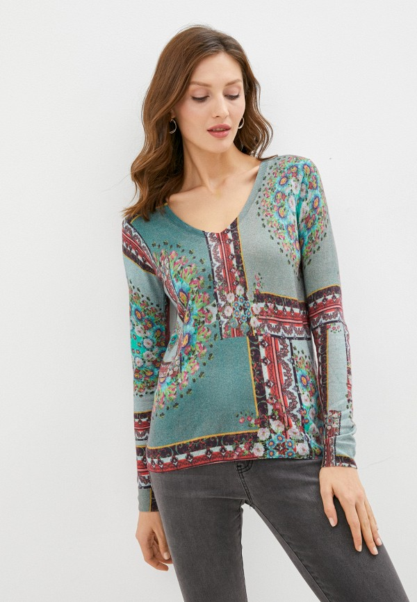 женский пуловер desigual, зеленый