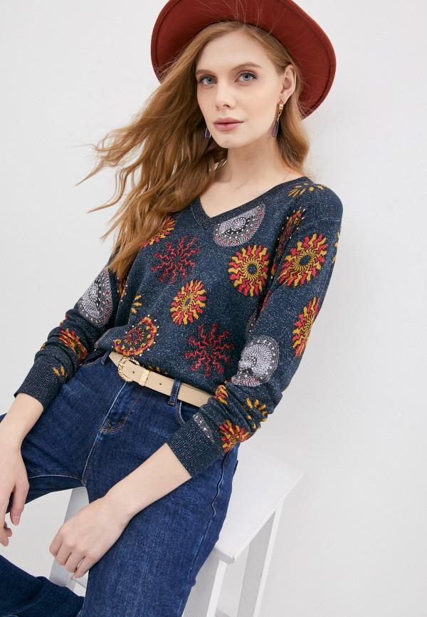женский пуловер desigual, синий