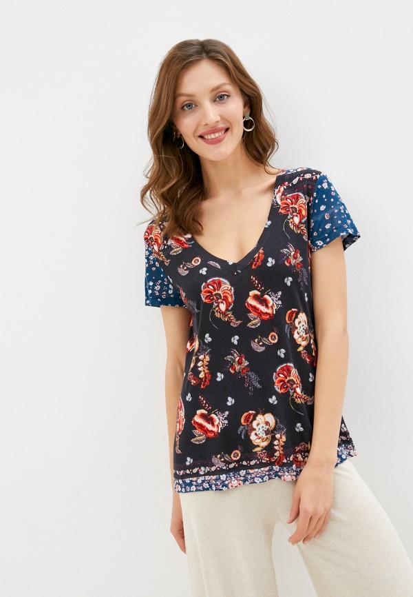 женская футболка desigual, синяя