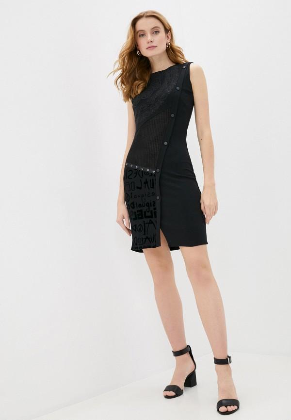 женское платье-футляр desigual, черное