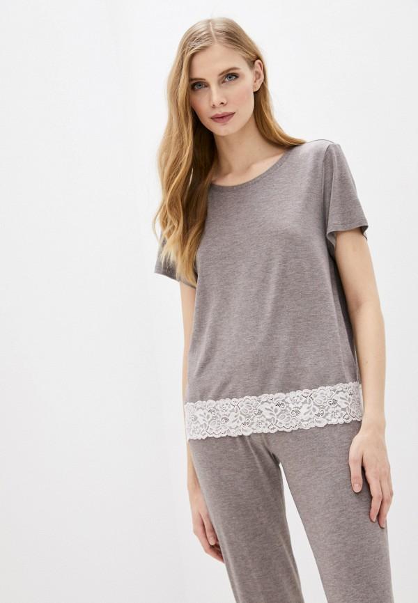 женская футболка дефиле, бежевая