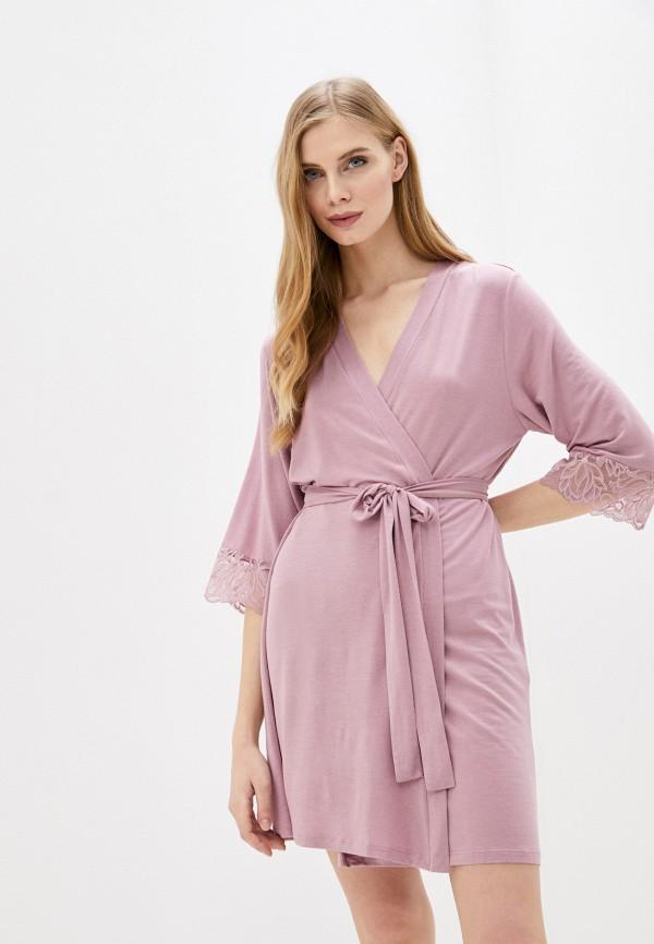 женский халат дефиле, розовый