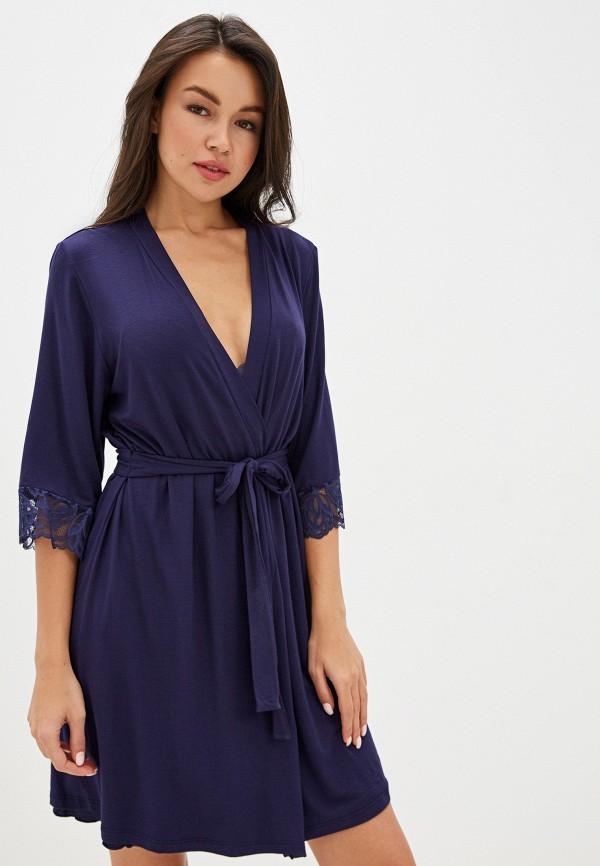 женский халат дефиле, синий