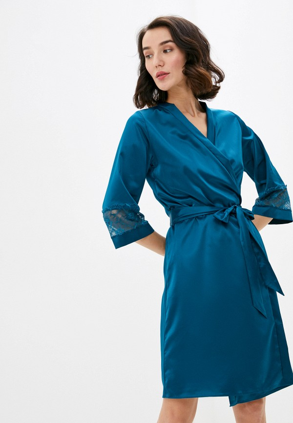женский халат дефиле, зеленый
