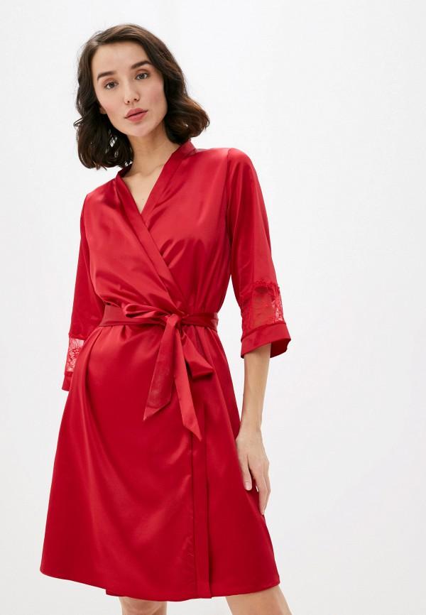 женский халат дефиле, красный